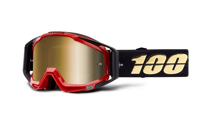 100% RACECRAFT HOT ROD GOGGLE - TRUE GOLD MIRROR LENS
